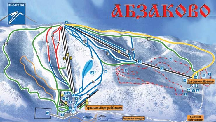 Схема трасс горнолыжного центра Абзаково
