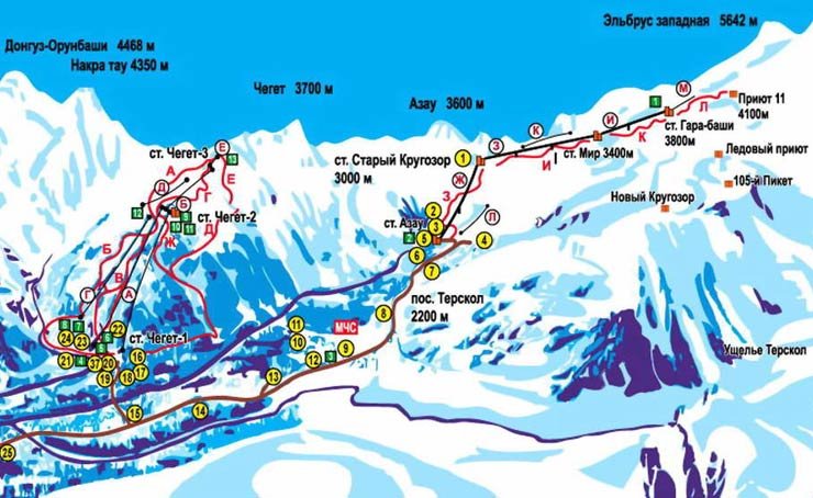 Схема трасс Эльбруса и Чегета
