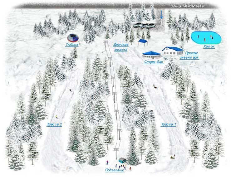 Схема трасс горнолжного центра