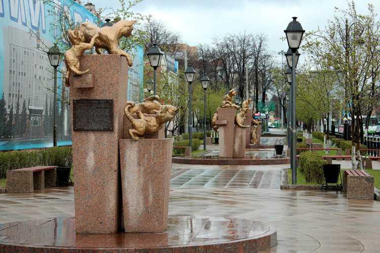 Скульптурные композиции в Сквере сибирских кошек в Тюмени