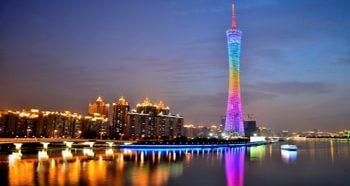 Телебашня самая вісокая достопримечательность в Гуанчжоу.