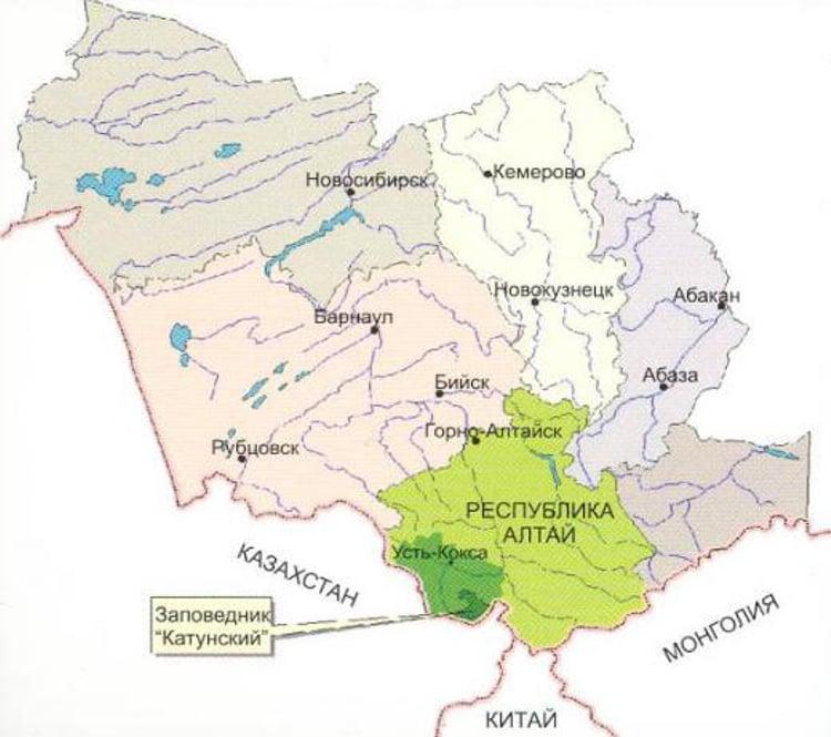 Вот карта географического положения Катунского заповедника.