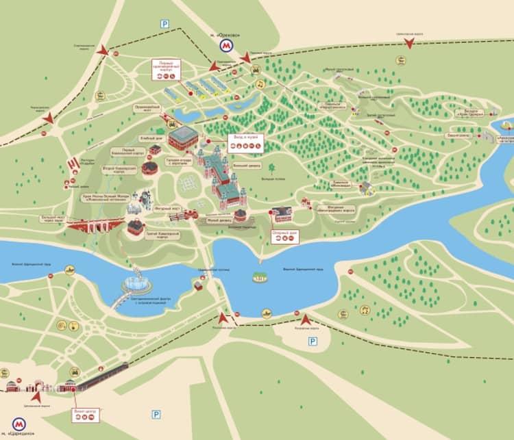 Карта-схема музея-заповедника в Царицыно