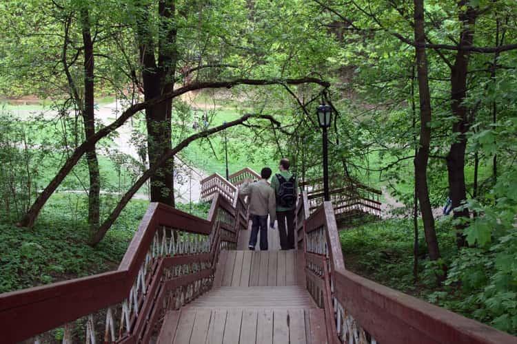 Спуск по лестнице на дно Голосова оврага в коломенское музей заповеднике